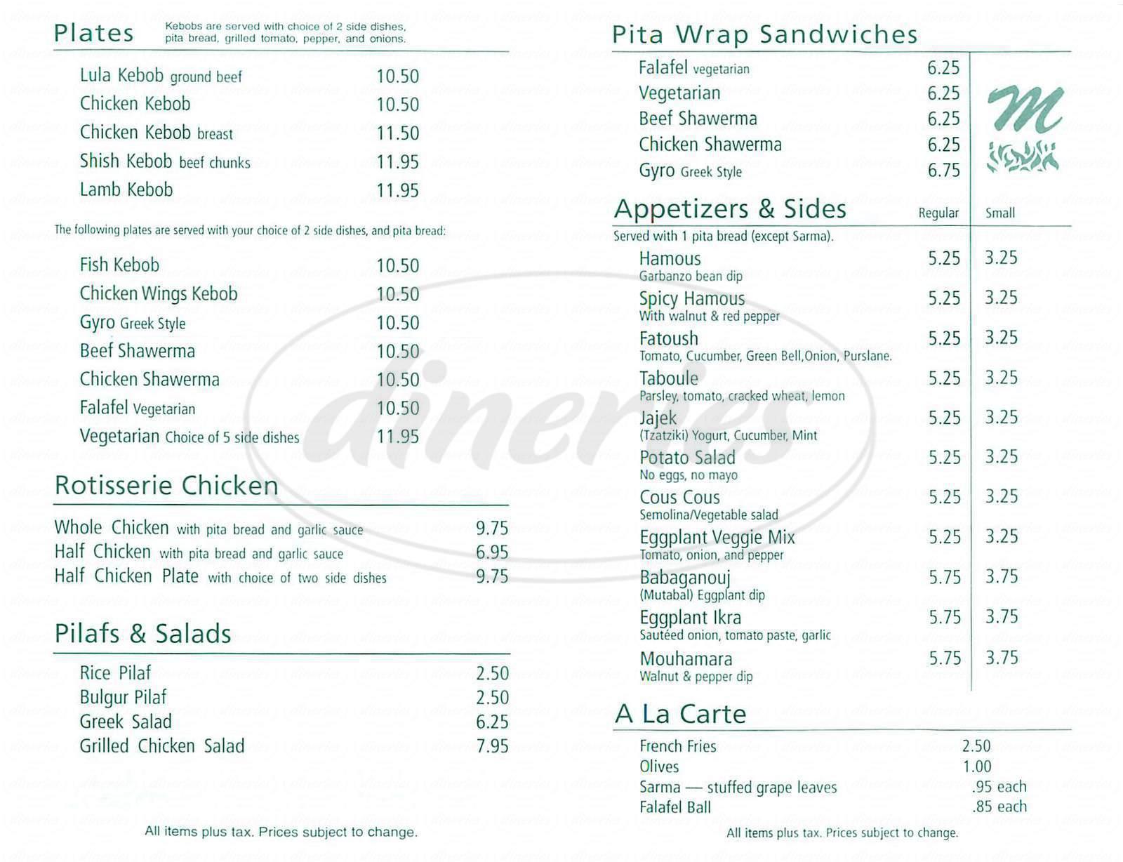 menu for Moishe's