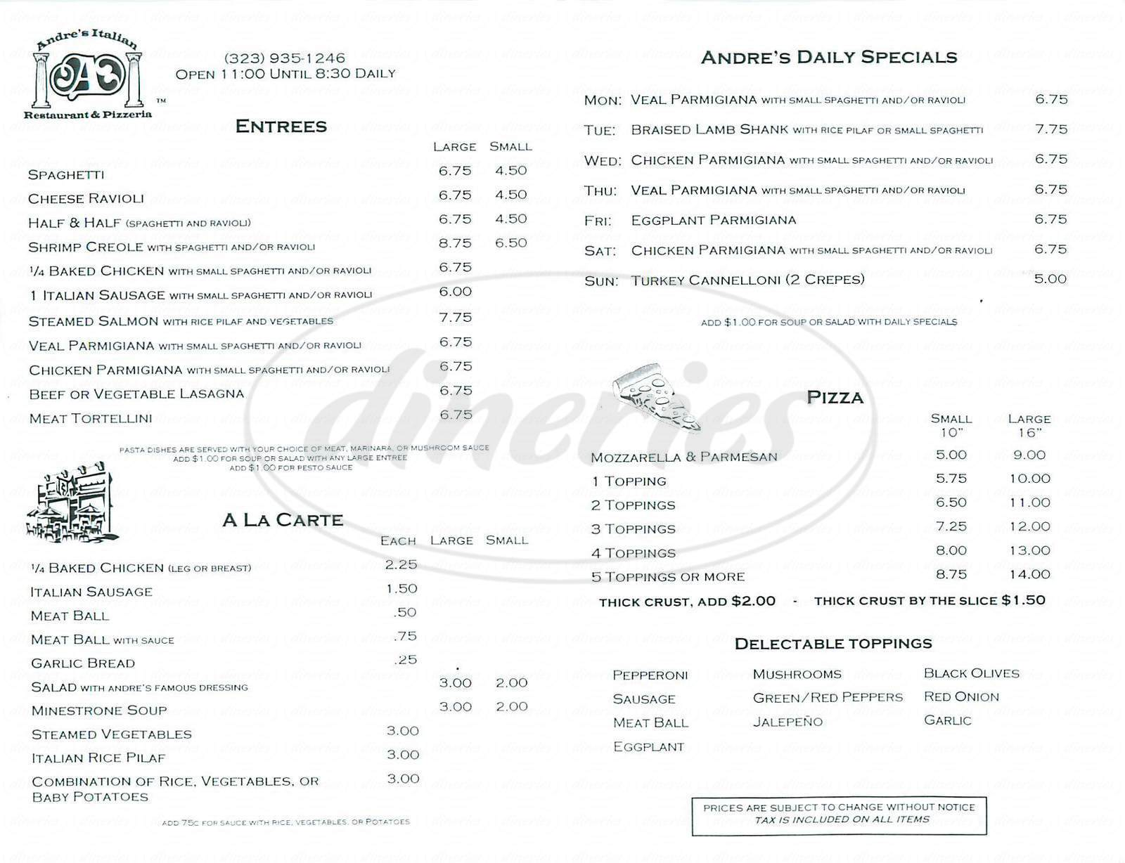 menu for Andre's Italian Restaurant