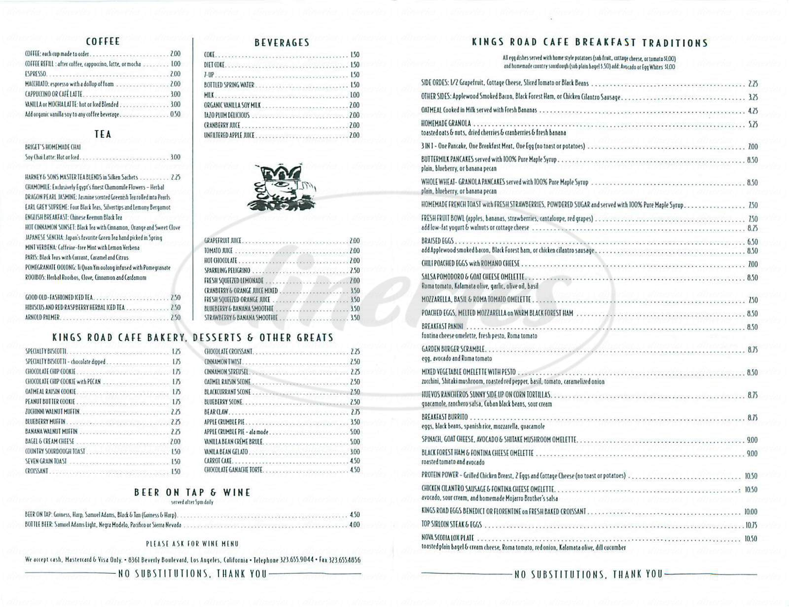 menu for Kings Road Cafe