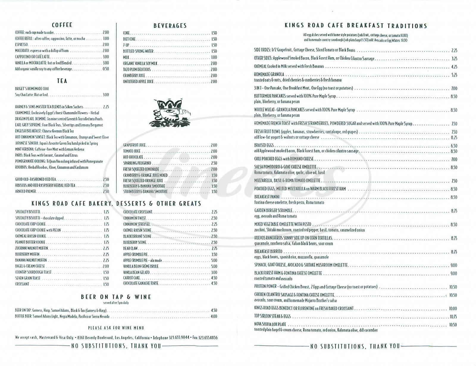 menu for Kings Road Cafe