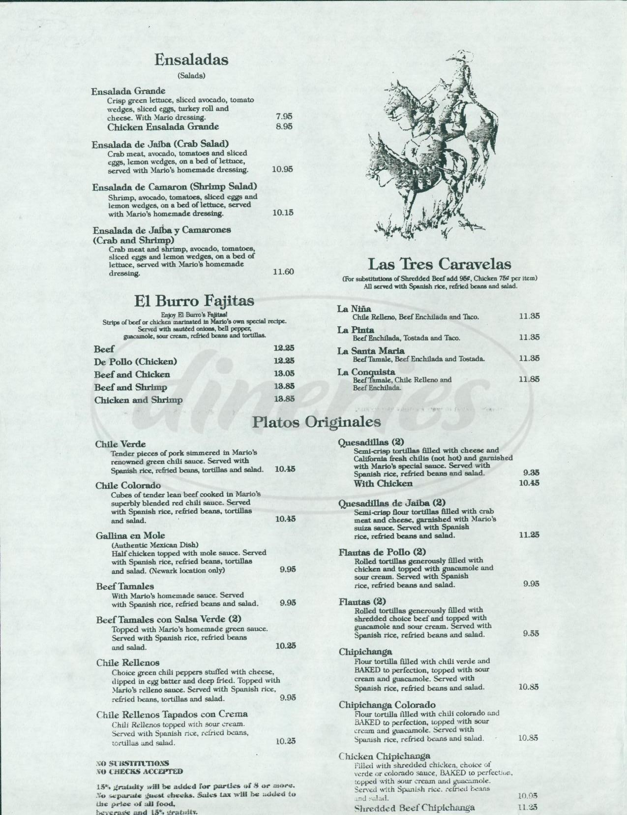 menu for El Burro