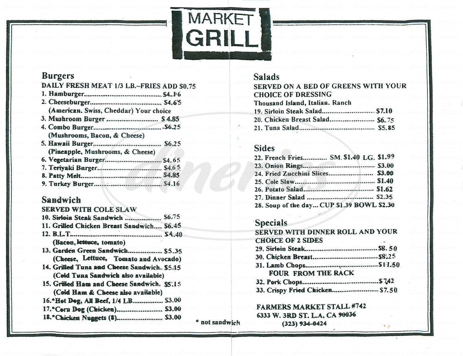 menu for Market Grill