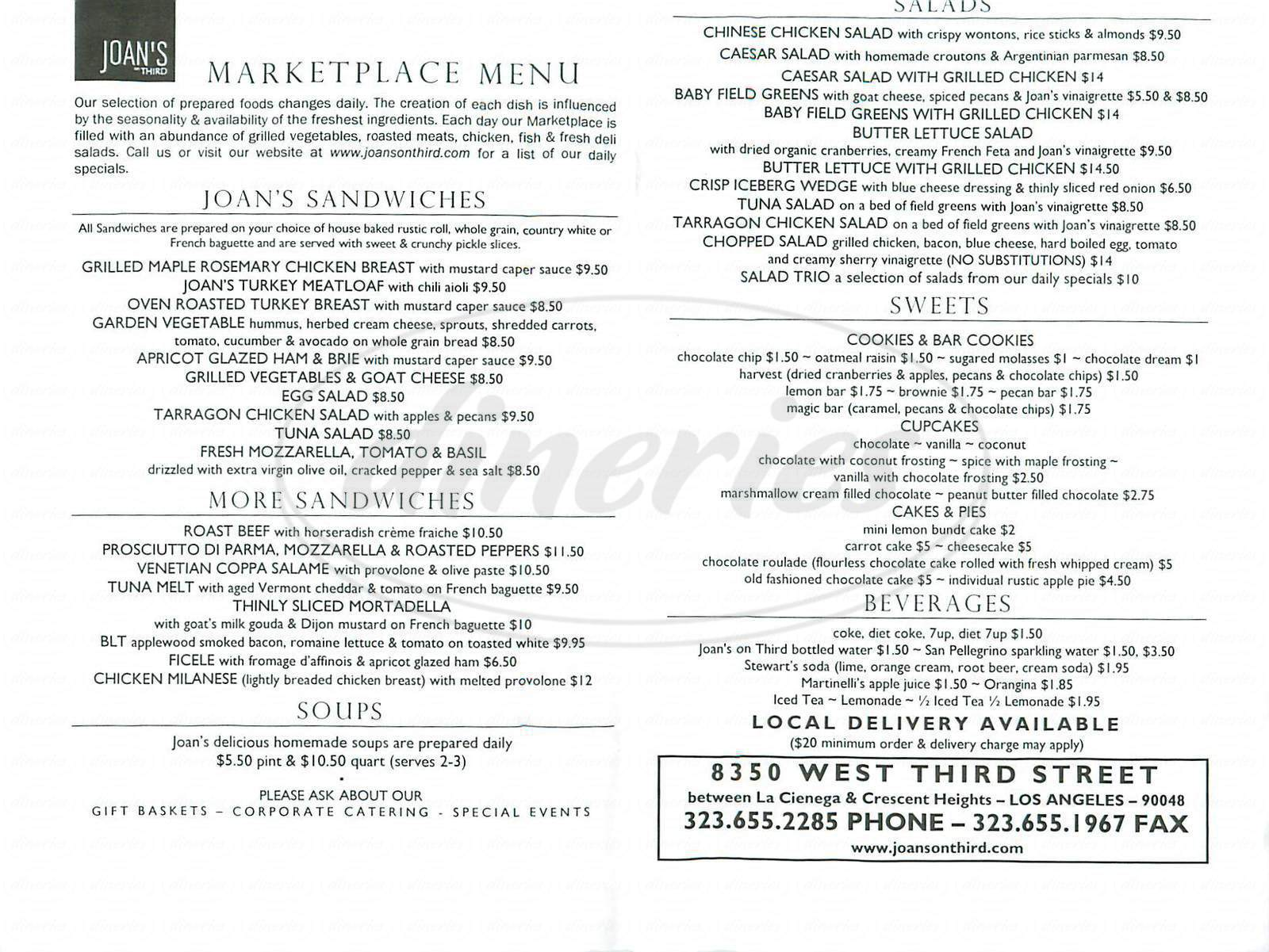 menu for Joan's on Third