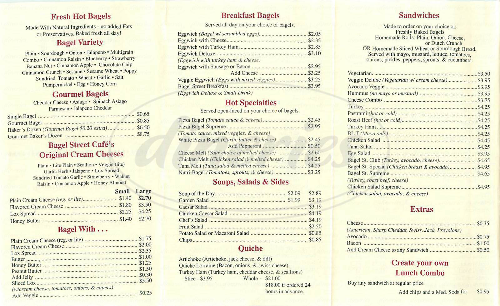 menu for Bagel Street Cafe