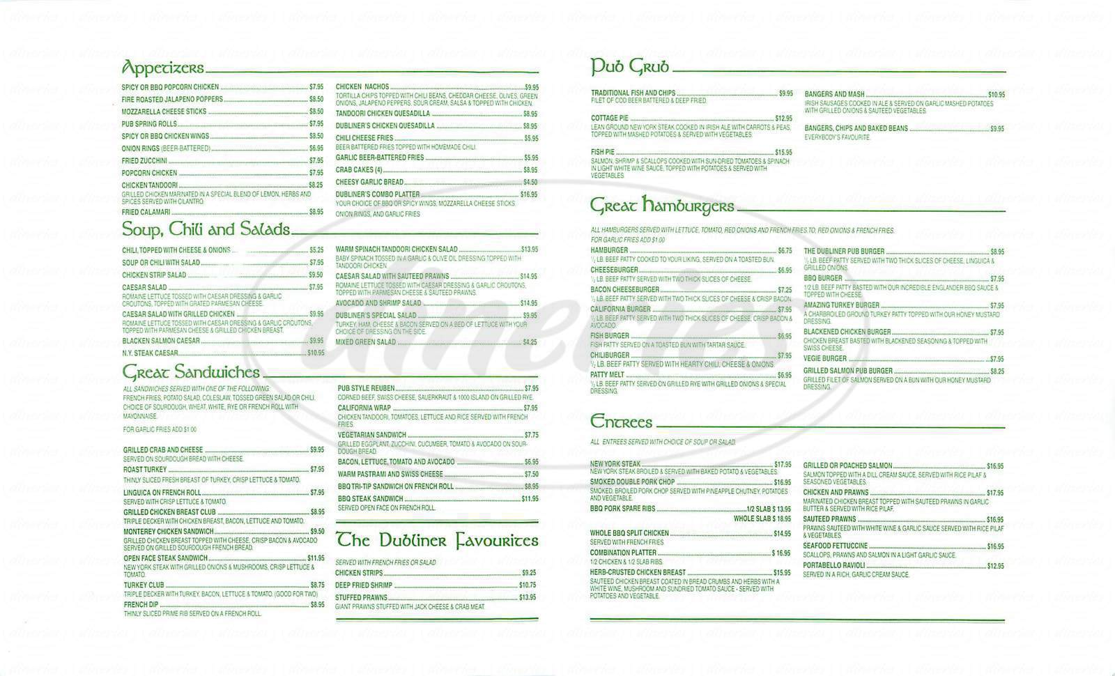 menu for Dublin Sports Pub & Grill
