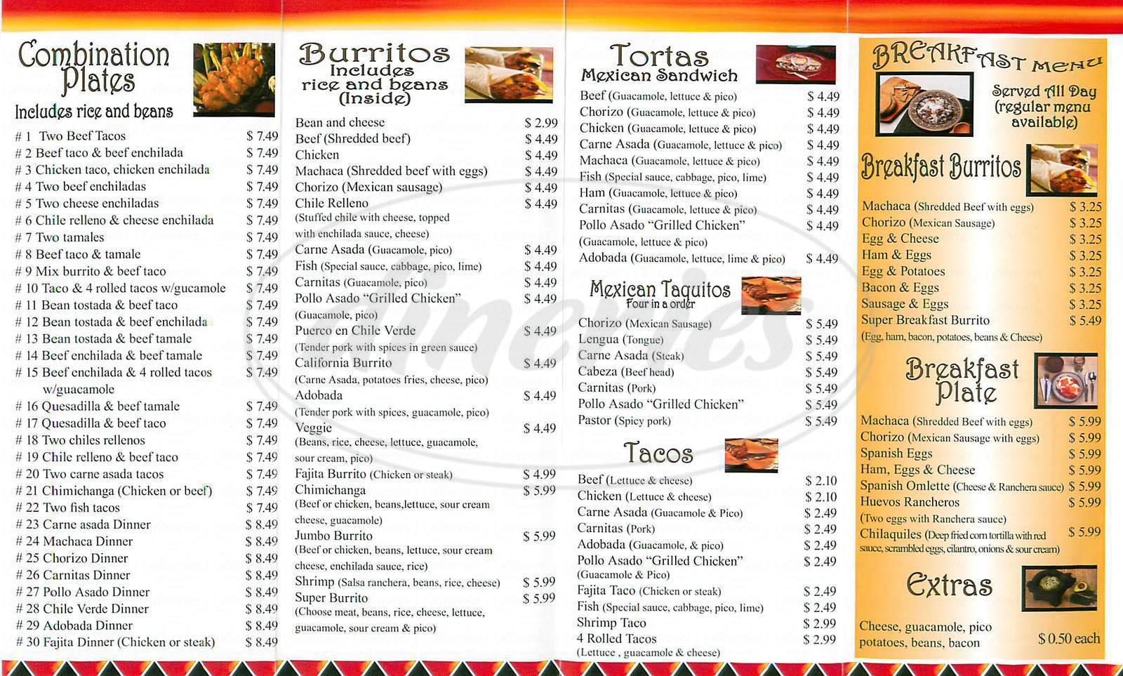 menu for Los Amigos