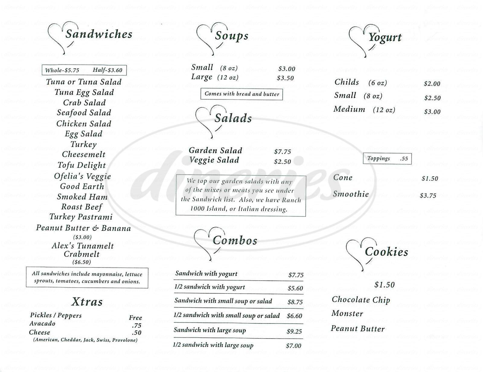 menu for Ofelia's Kitchen