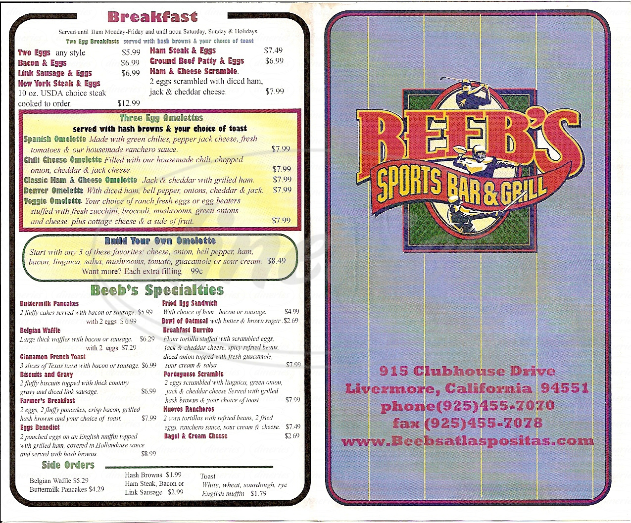 menu for Beeb's Sports Bar & Grill