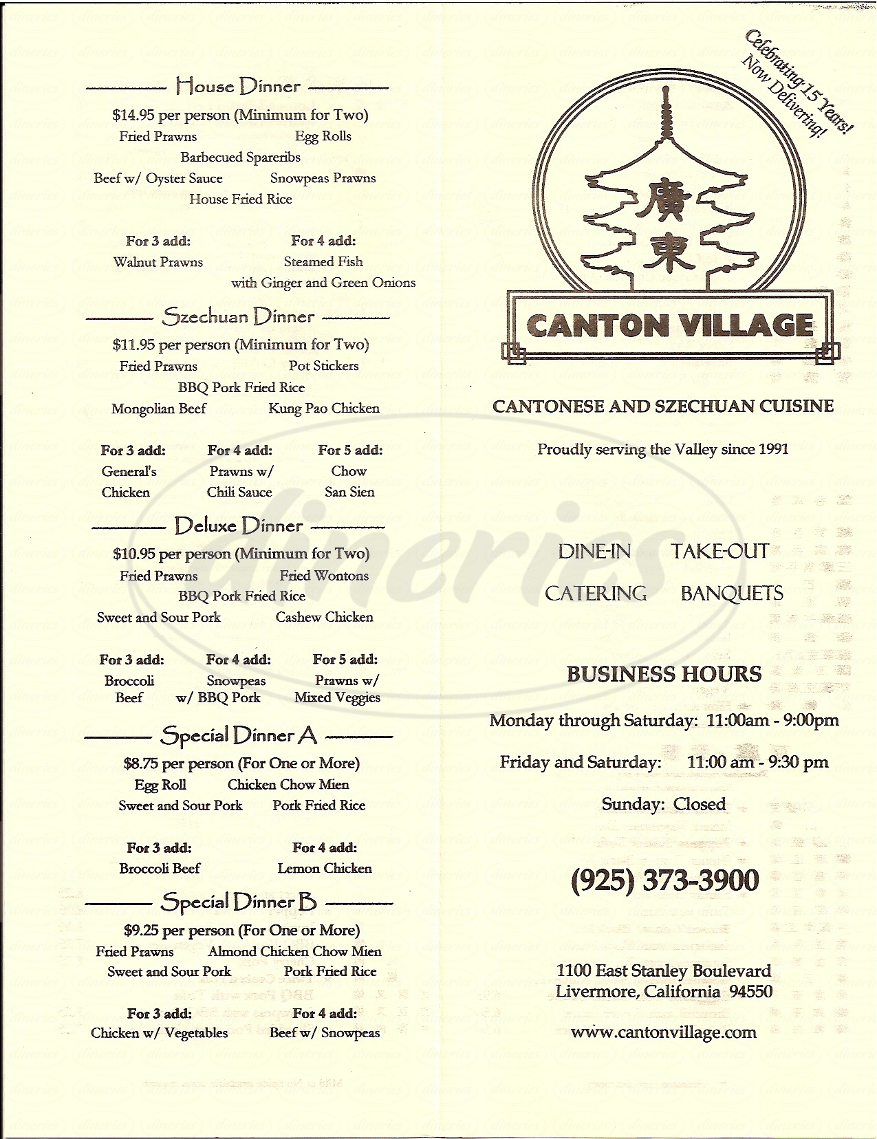 menu for Canton Village