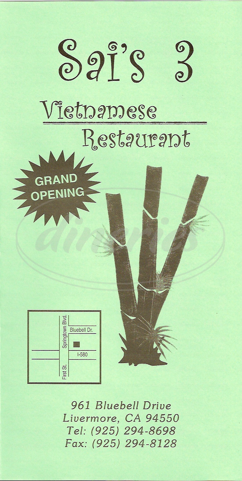 menu for Sai's Vietnamesee Restaurant