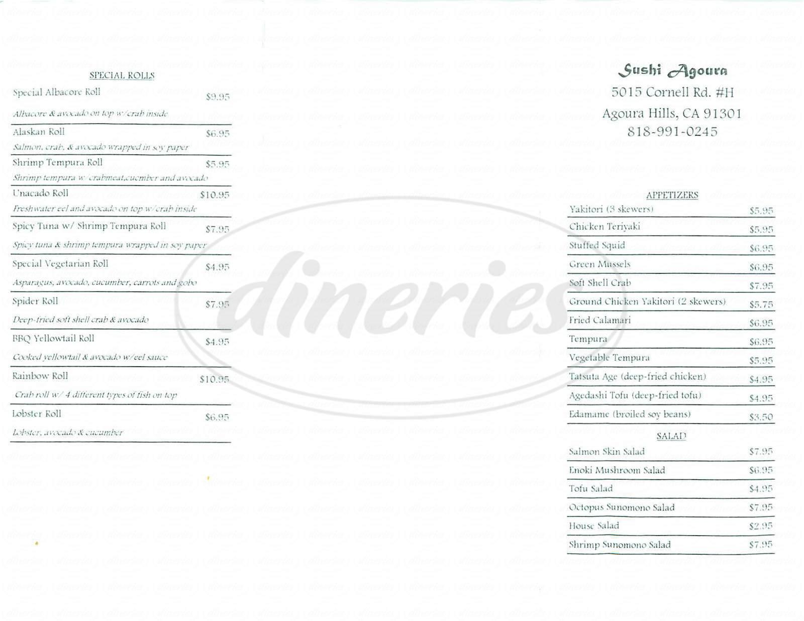menu for Sushi Agoura