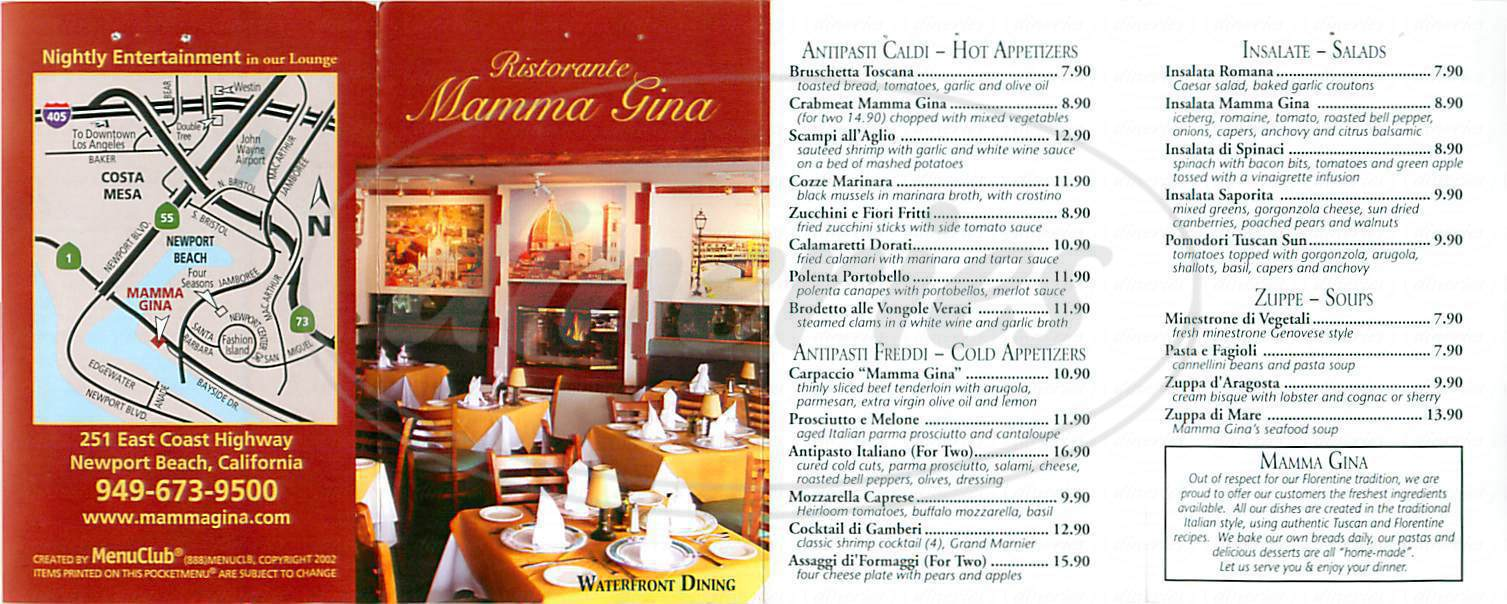 menu for Mamma Gina
