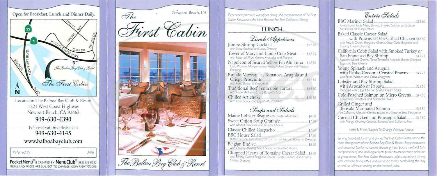 menu for The First Cabin