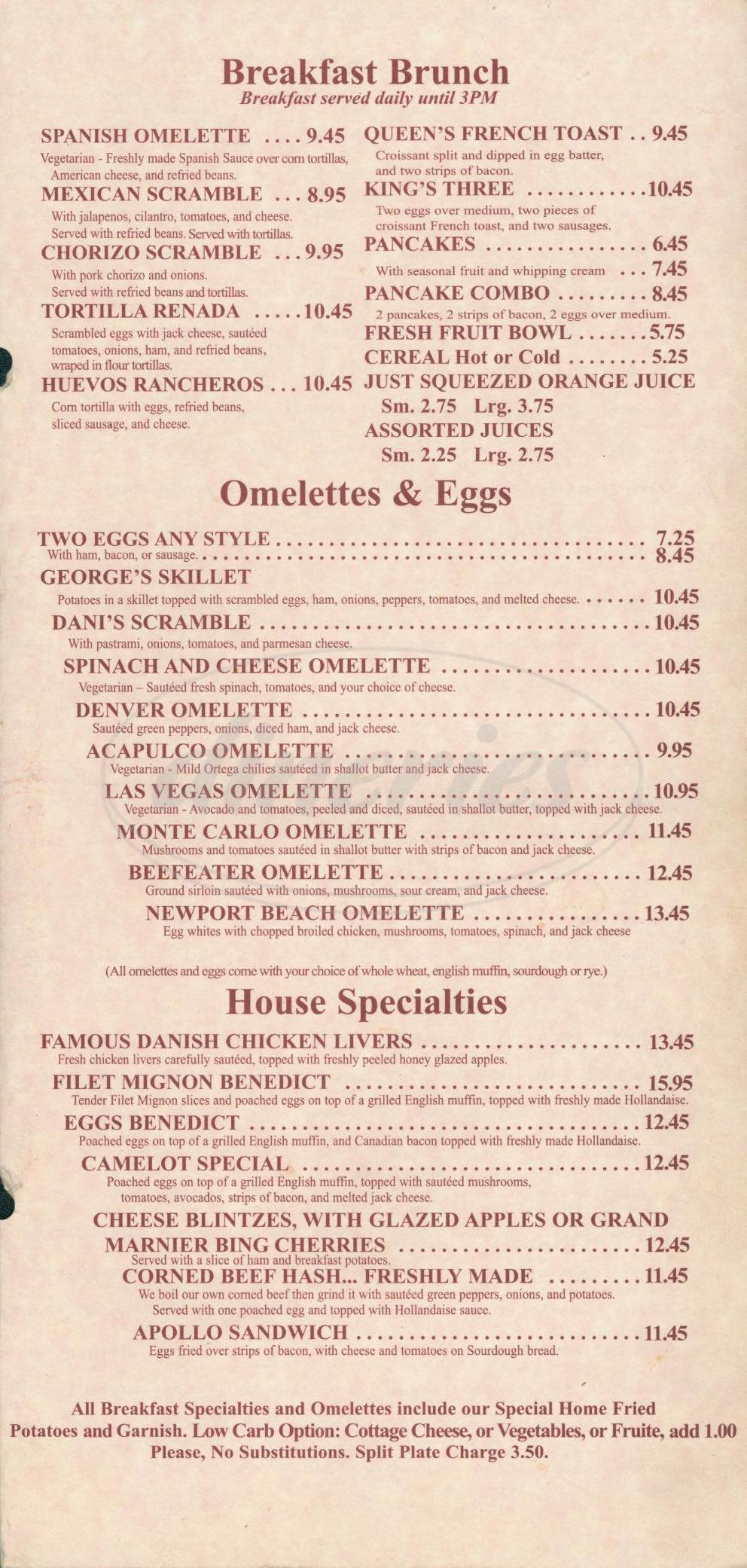 menu for Camelot Restaurant