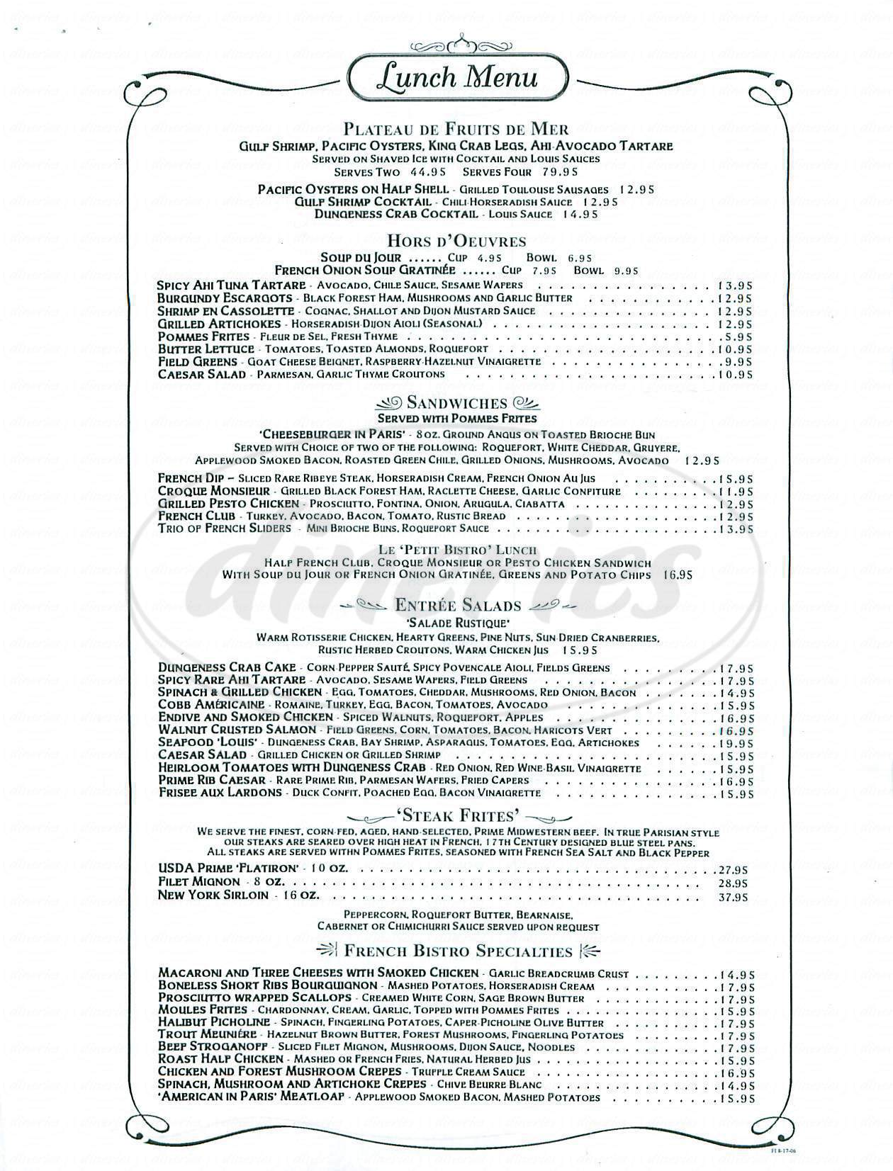 menu for French 75 Bistro