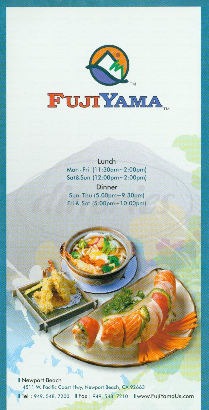 menu for FujiYama