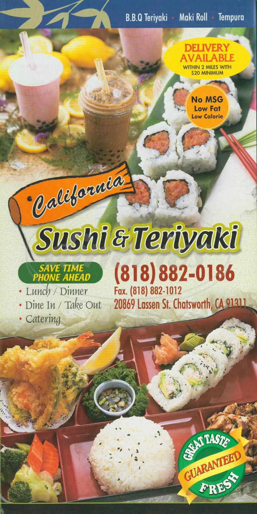 menu for California Sushi & Teriyaki