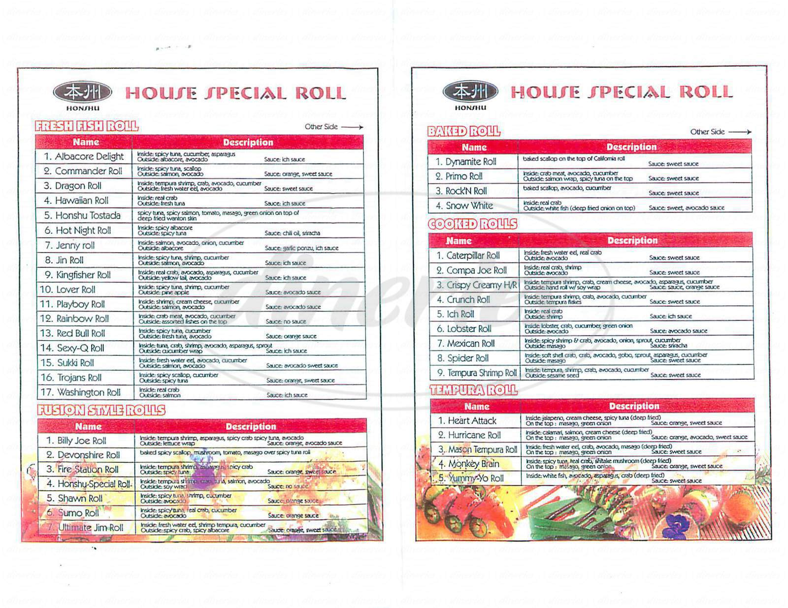menu for Honshu Sushi