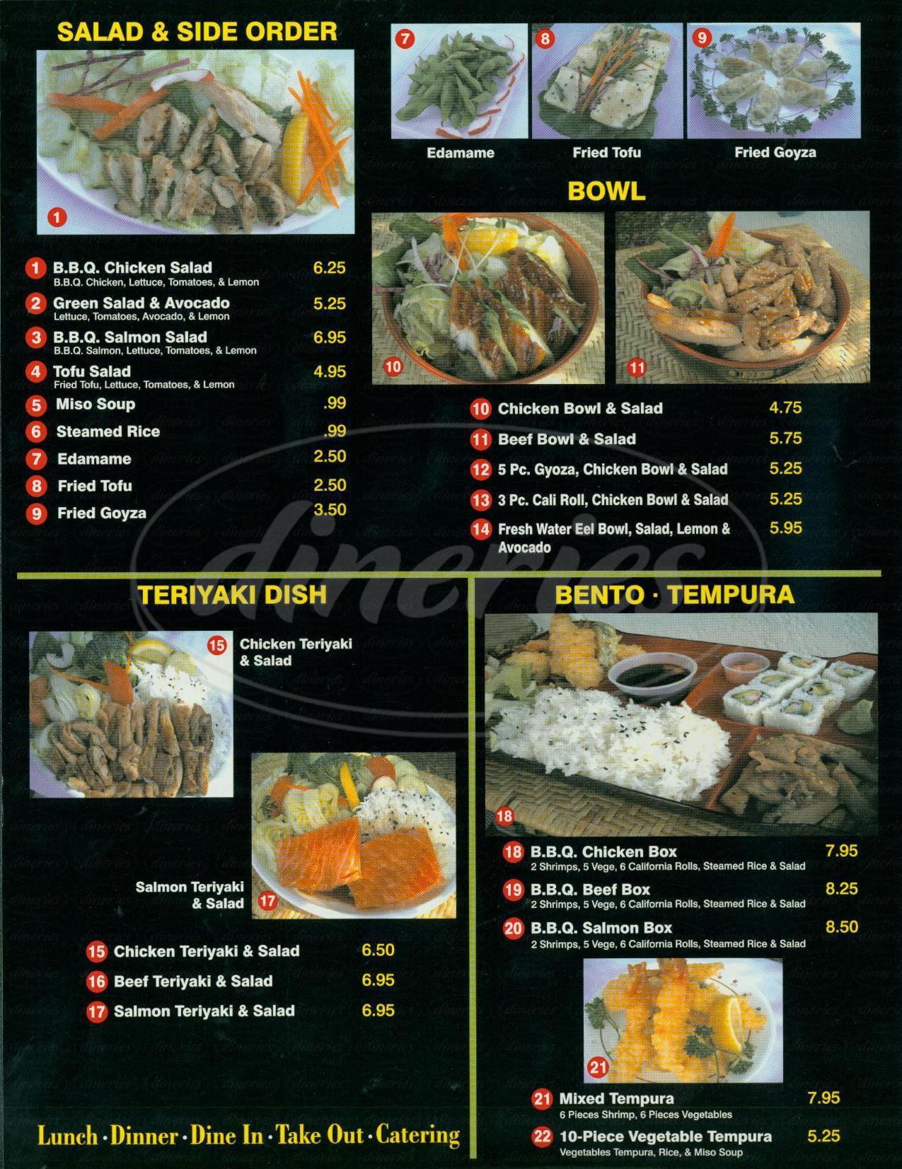 menu for Miyagi Sushi & Teriyaki