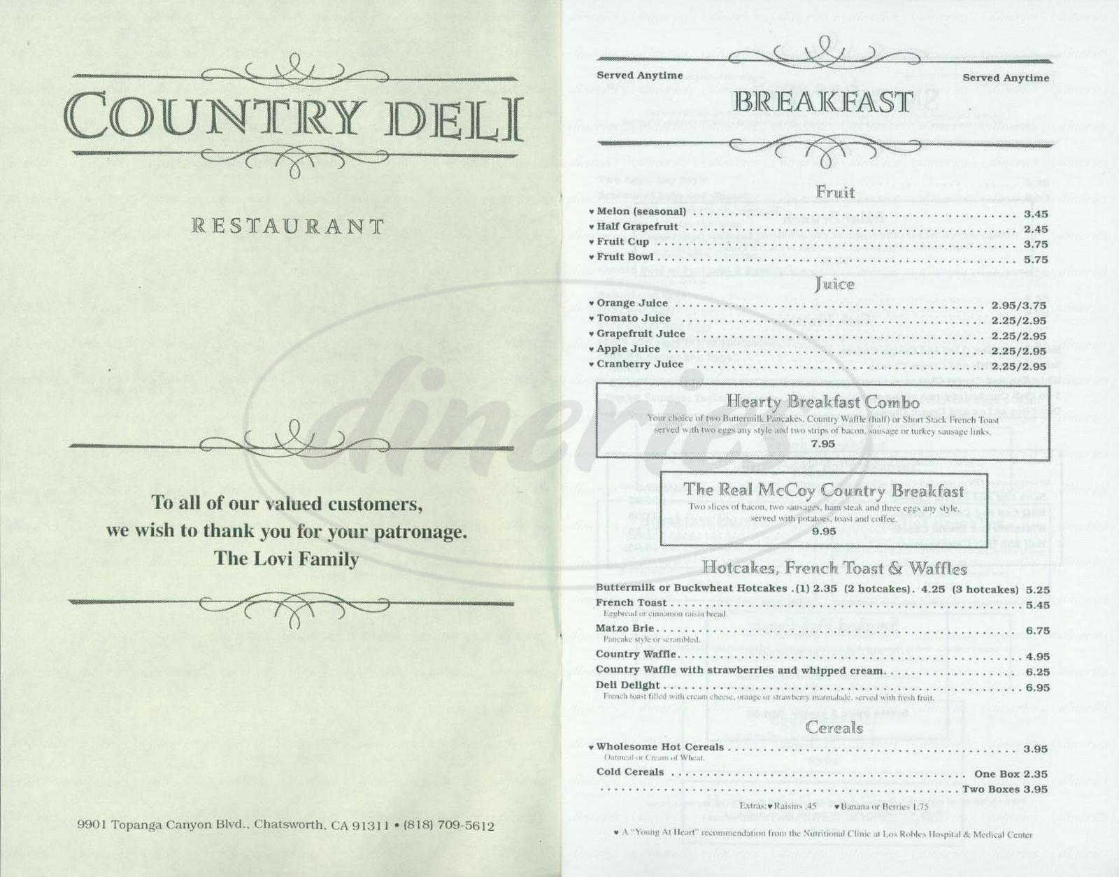 menu for Country Deli