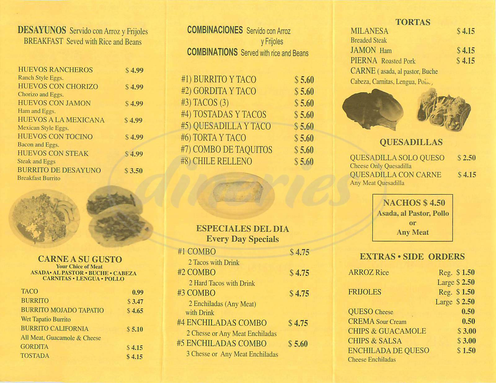 menu for El Rincon Tapatio