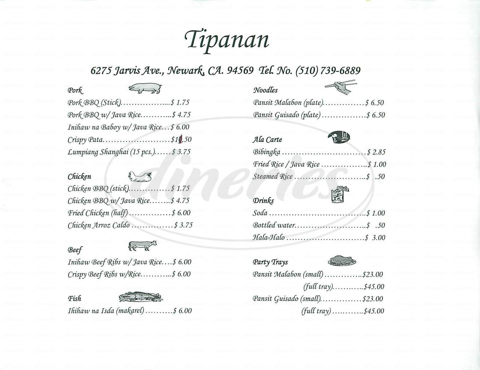 menu for Tipanan