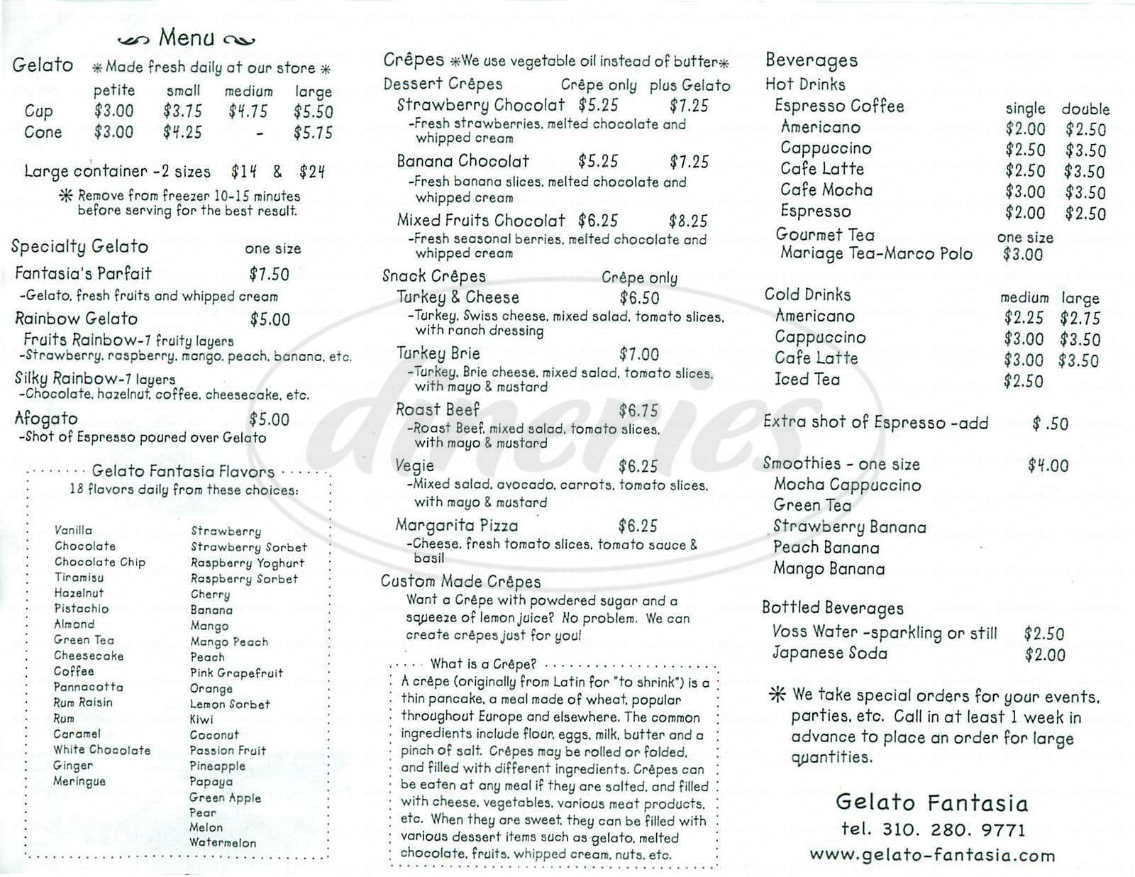 menu for Gelato Fantasia