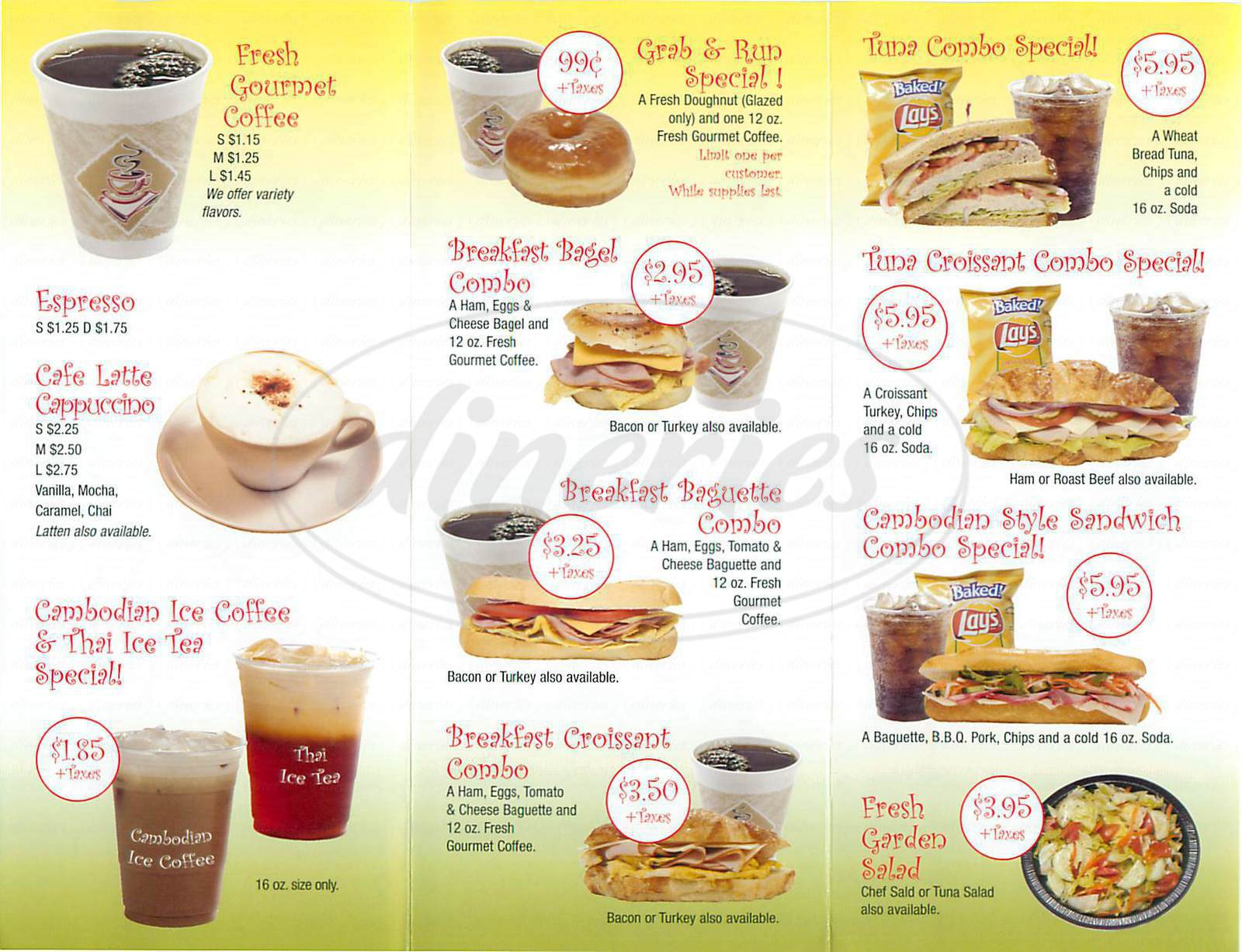 menu for DH Company Coffee House