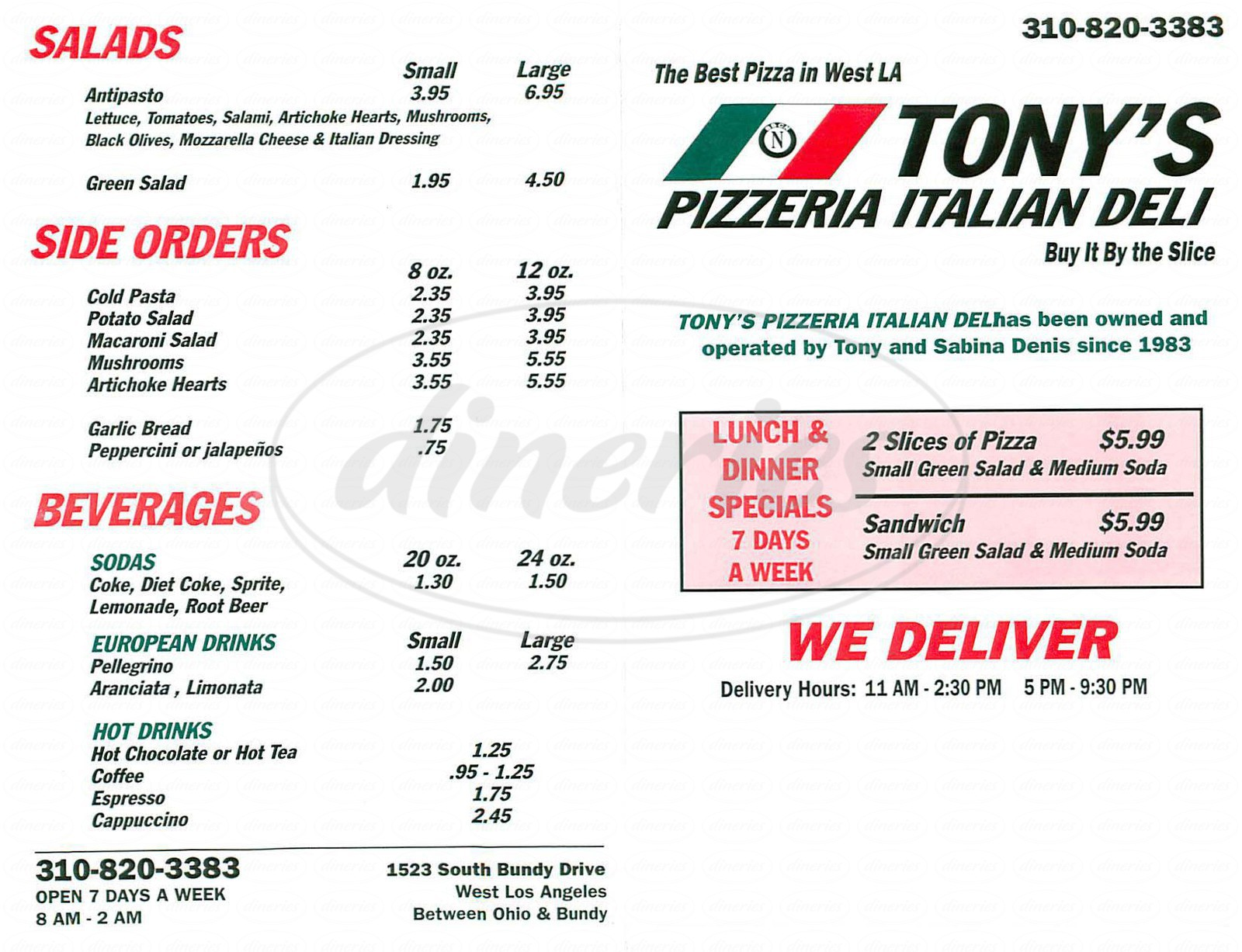 menu for Tony's Pizzeria Italian Deli