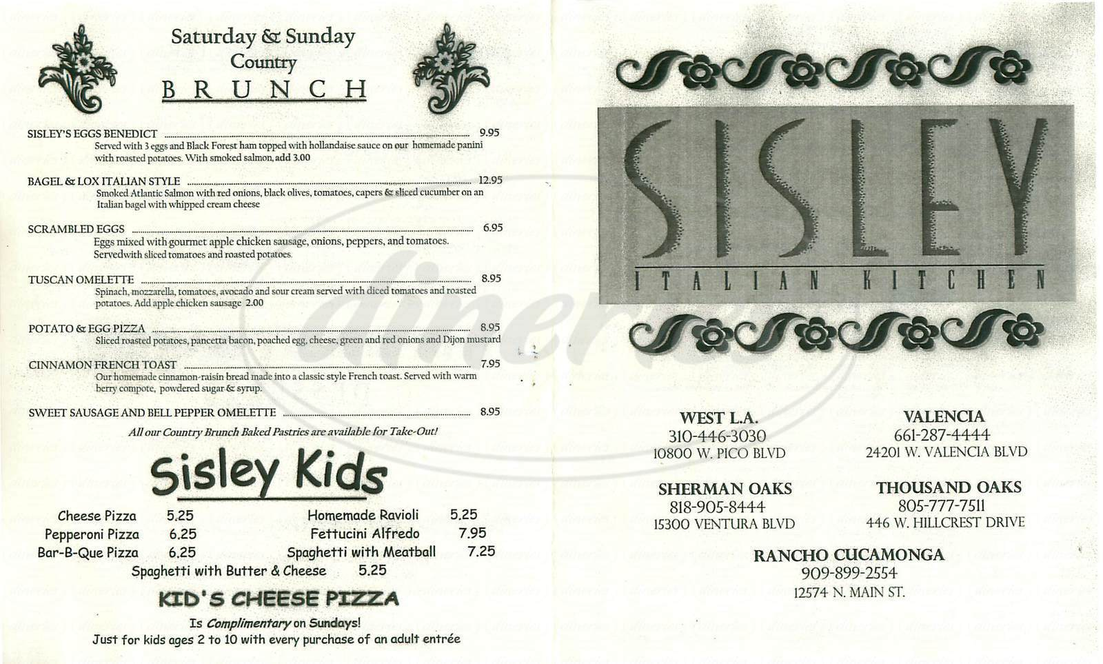 menu for Sisley Italian Kitchen