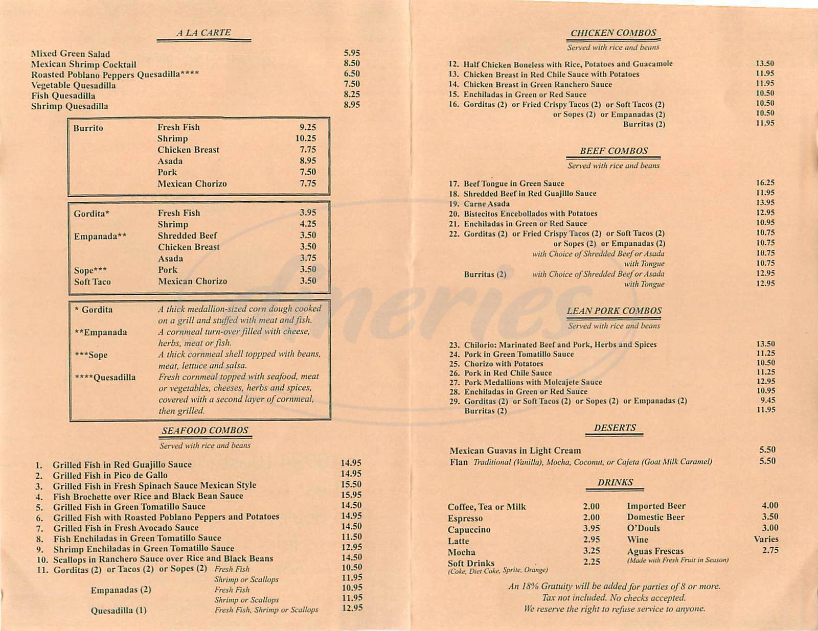 menu for La Serenata Gourmet