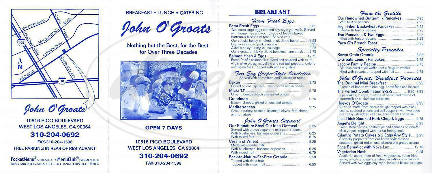 menu for John O'Groats