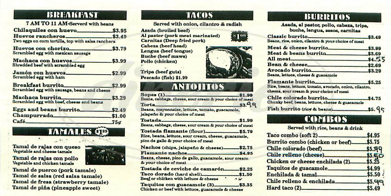 menu for Tacos La Flama