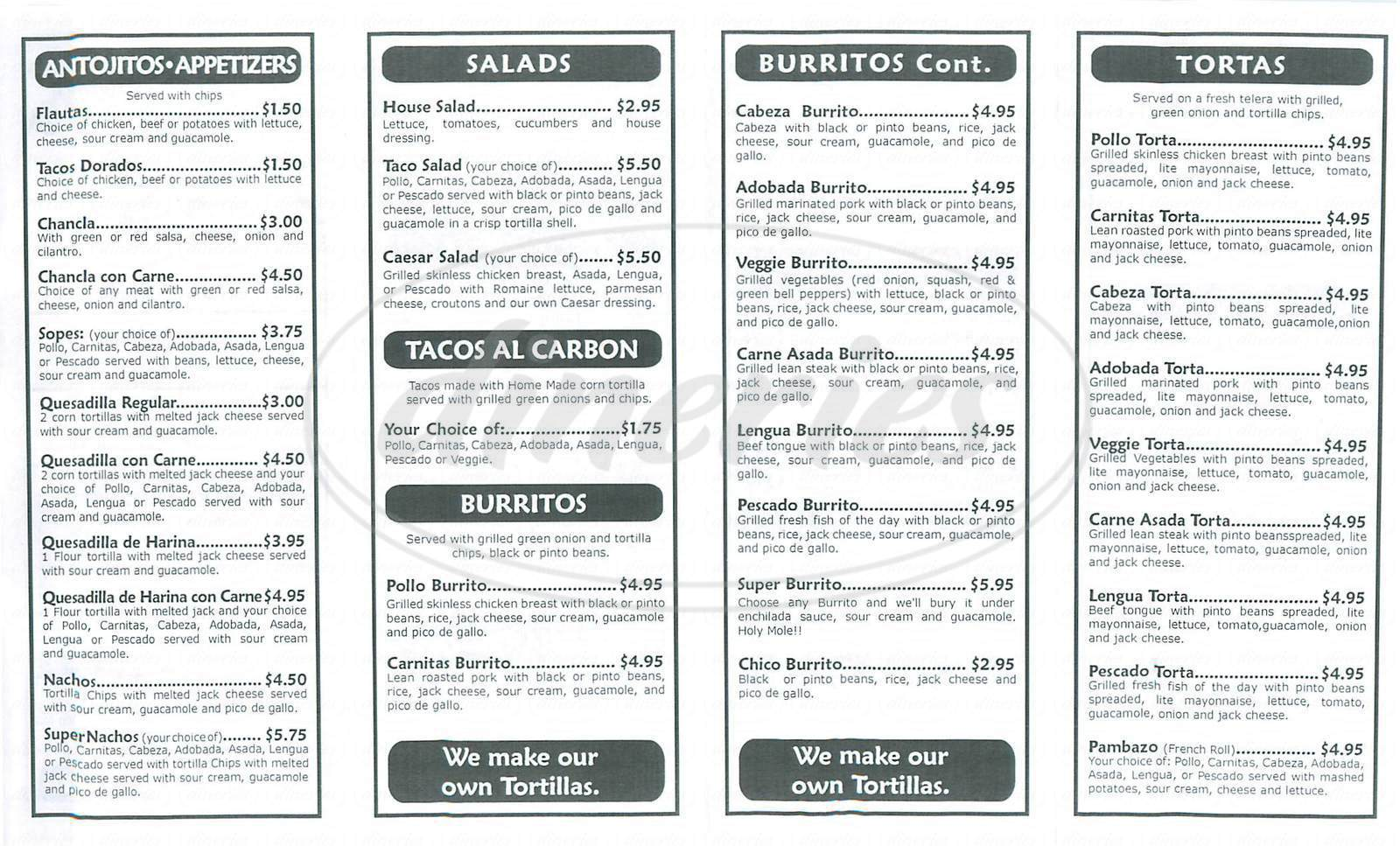 menu for Tacomiendo