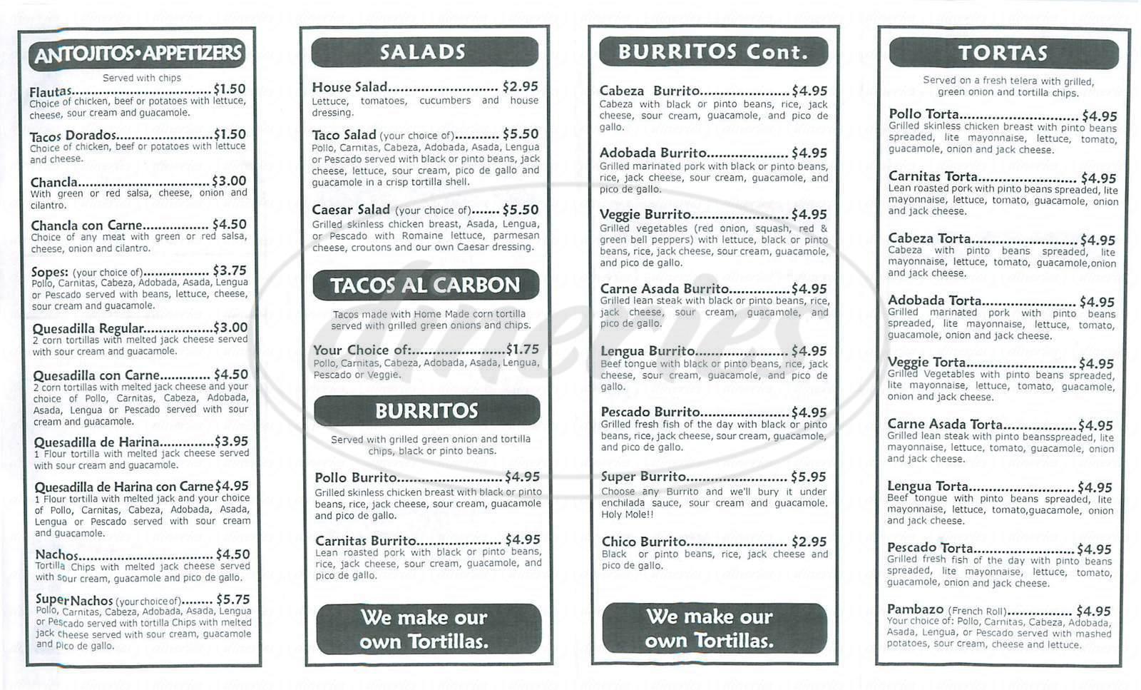 menu for Tacomiendo
