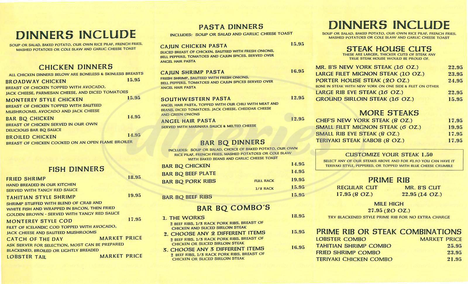 menu for Billingsley's