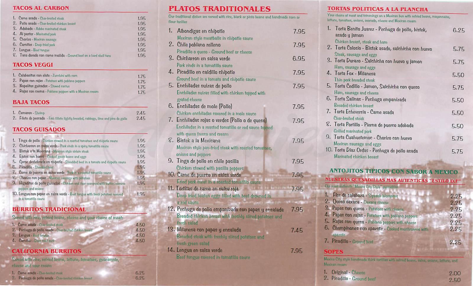 menu for Sabor A Mexico
