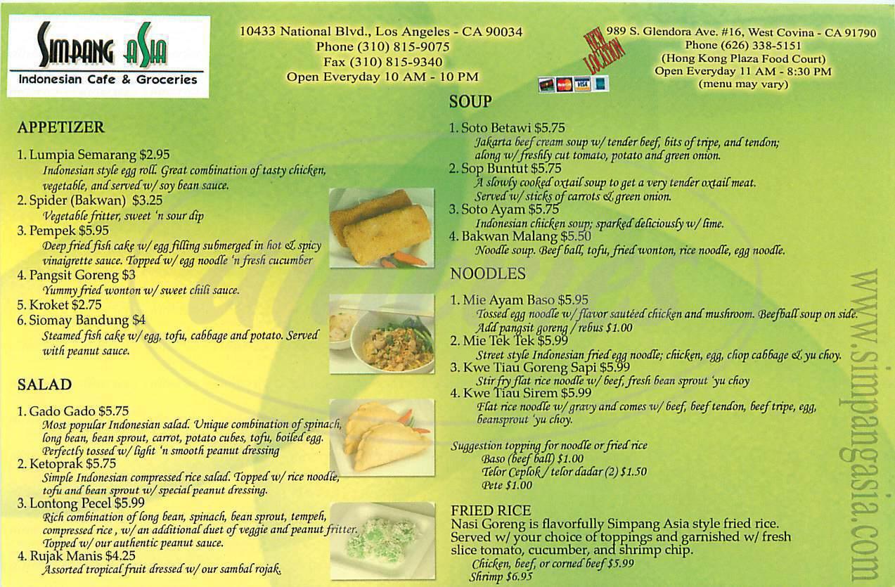 menu for Simpang Asia