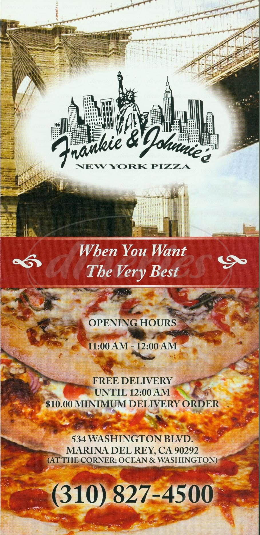 menu for Frankie & Johnnies New York Pizza
