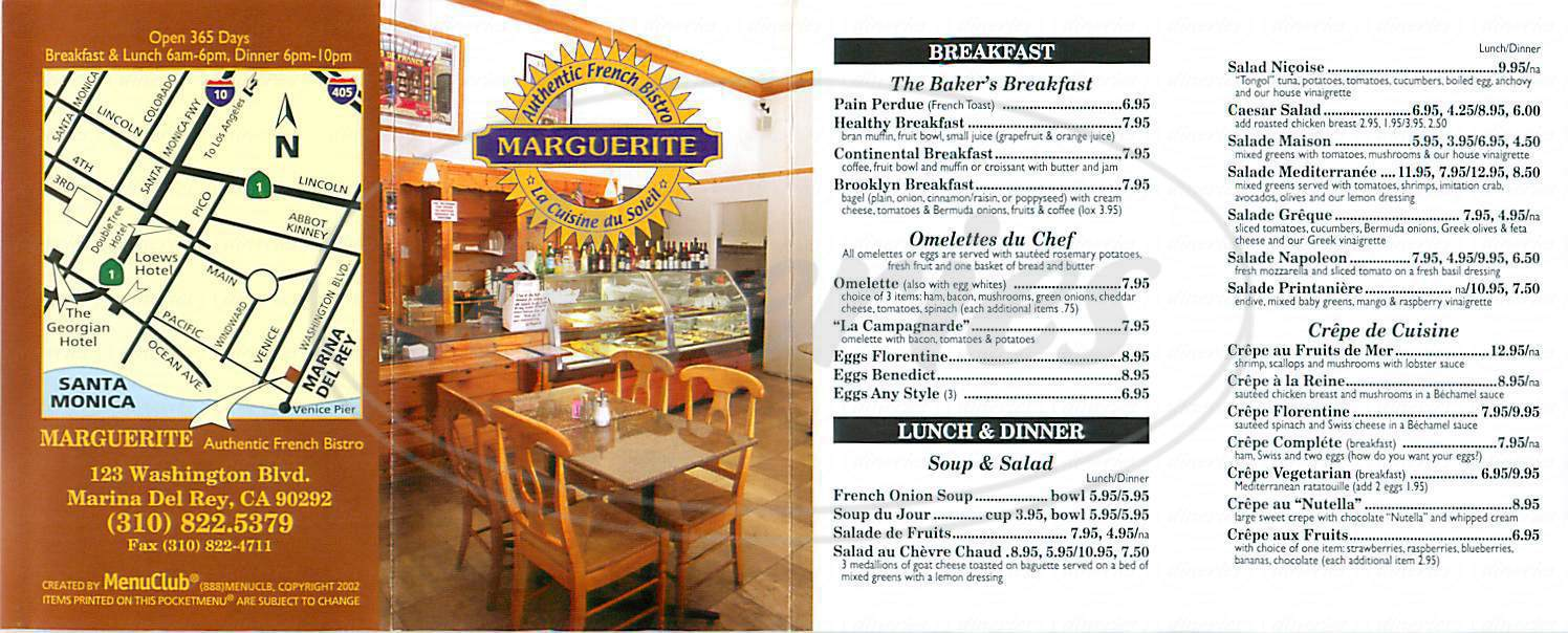 menu for Marguerite Cafe