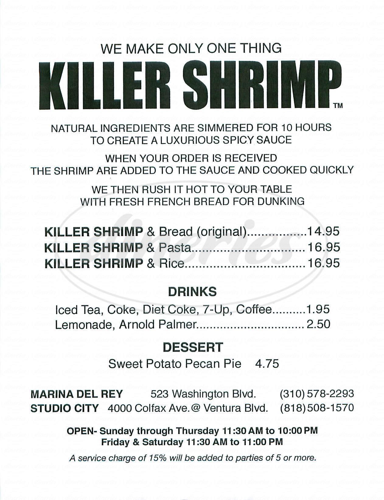menu for Killer Shrimp