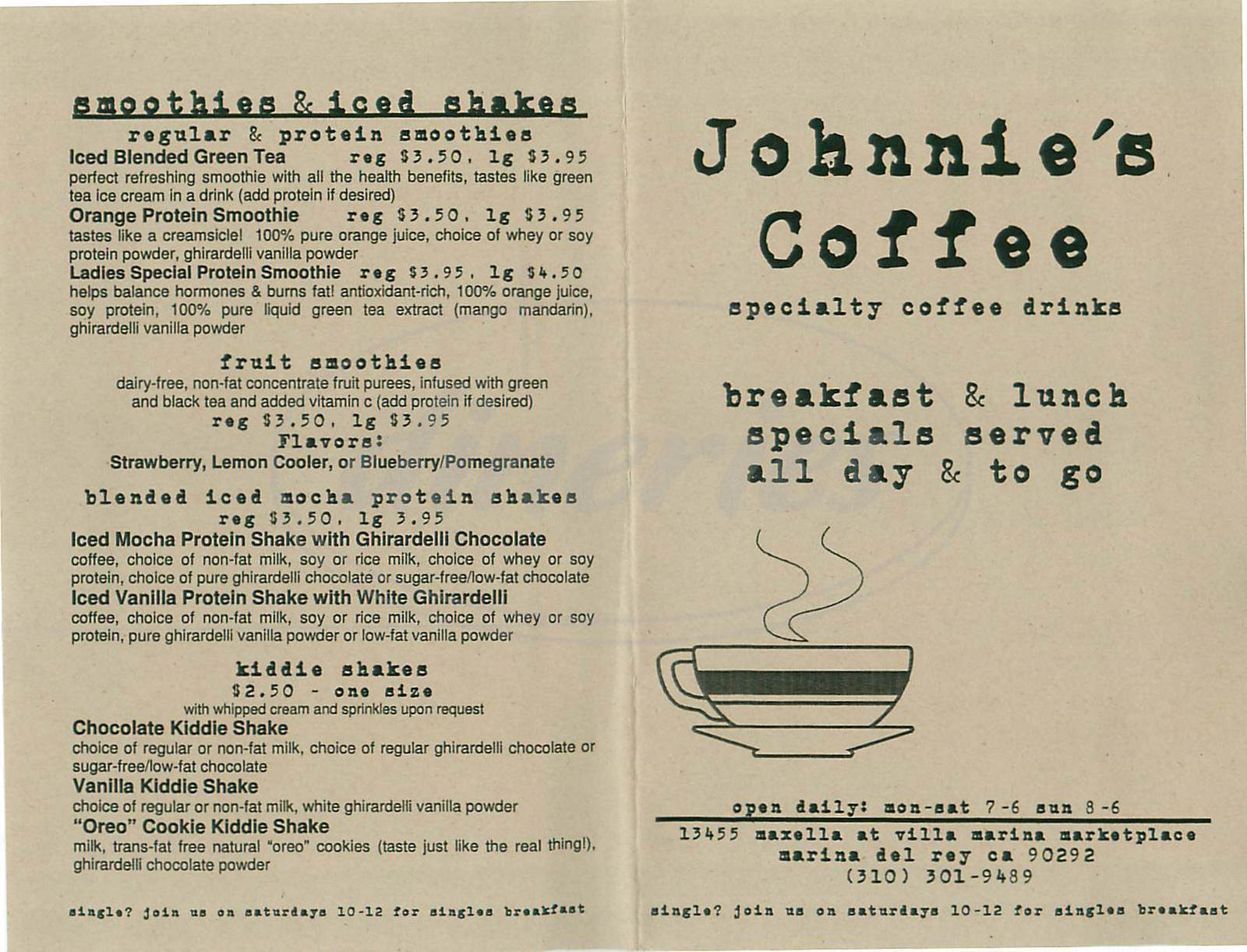 menu for Johnnie's Coffee