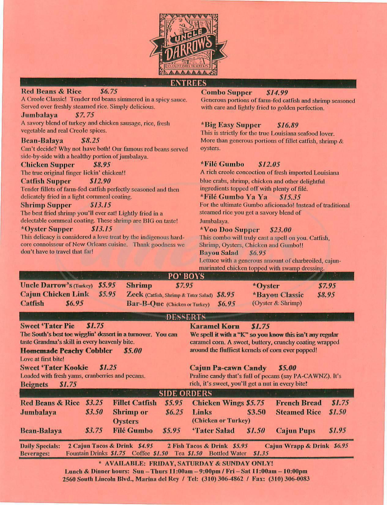 menu for Uncle Darrow's