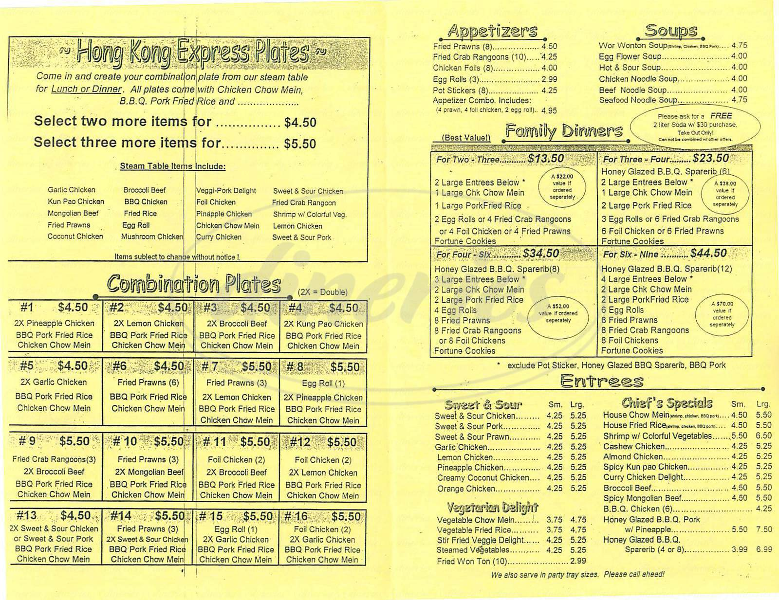 menu for Hong Kong Express