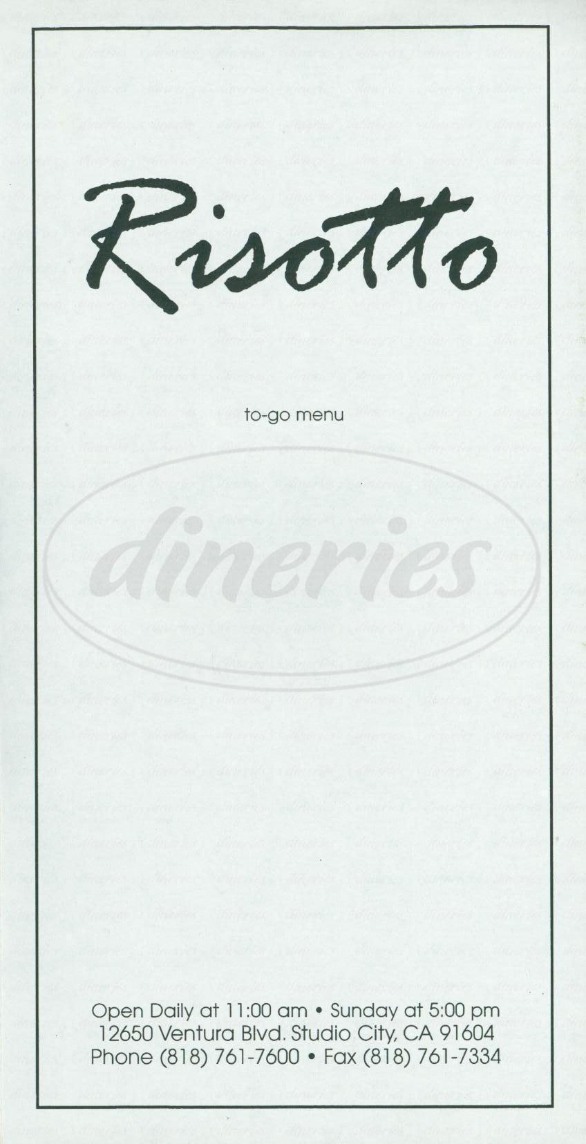 menu for Risotto