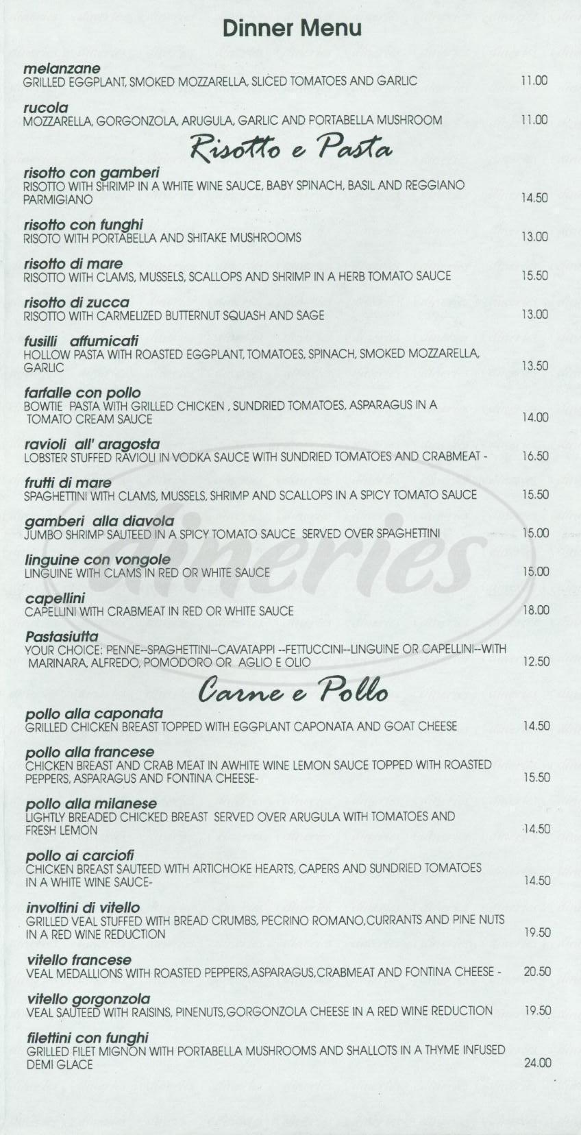 menu for Risotto
