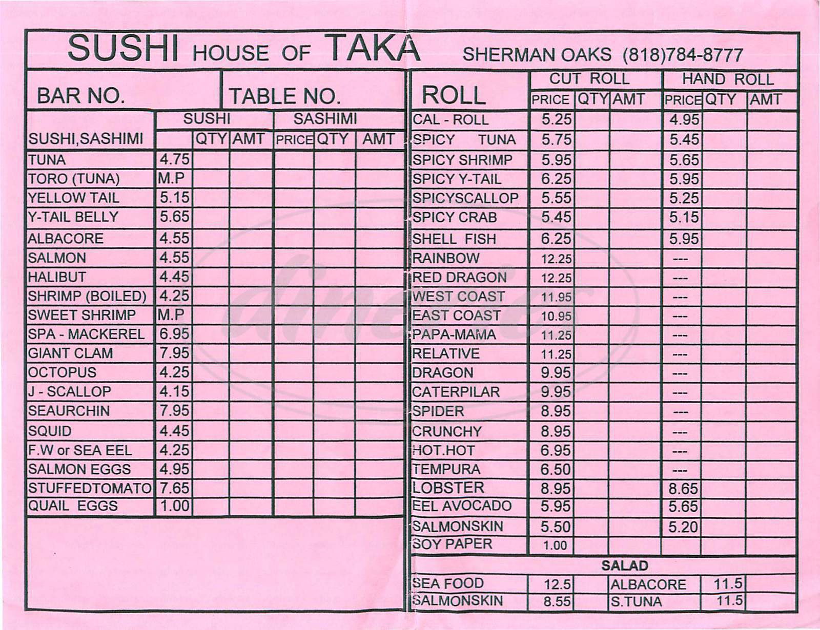 menu for Sushi House of Taka