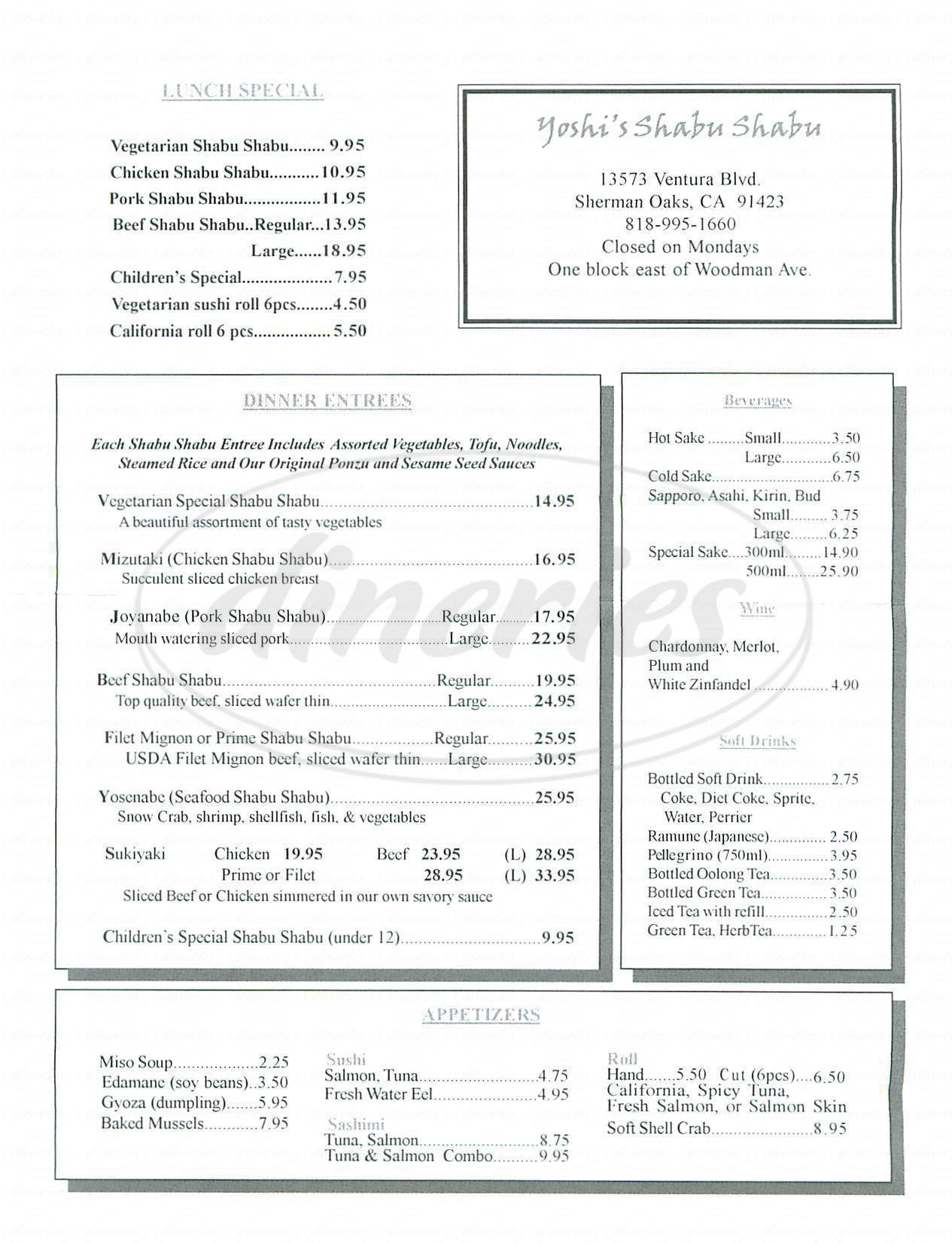 menu for Yoshi's Shabu Shabu