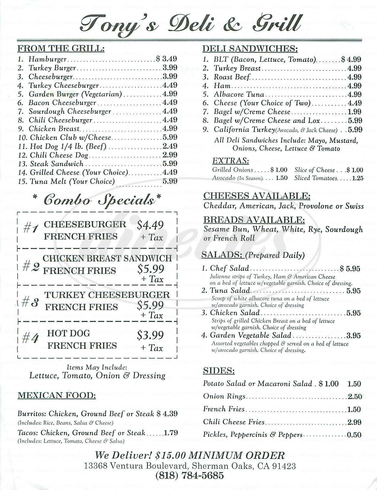 menu for Tony's Deli & Grill