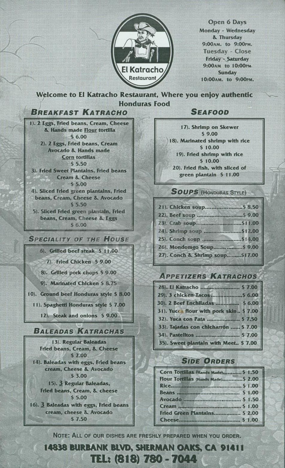 menu for El Katracho